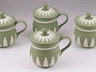 wedgwood pot de creme, green jasperware