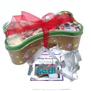 doggie treat kit in dog bone tin