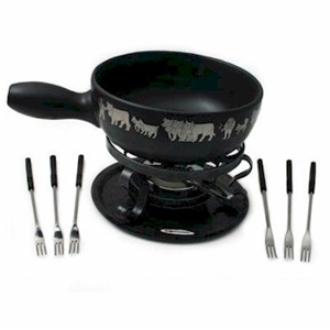 caquelon traditional swiss fondue set (cow) : Buy - GourmetSleuth