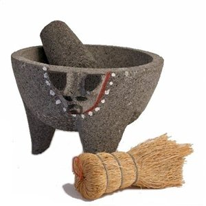 smooth stone pig molcajete with painted trim