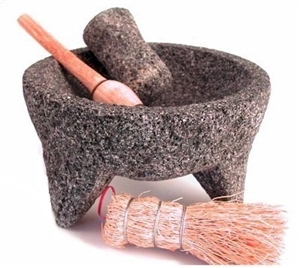 molcajete with spoon and escobeta brush