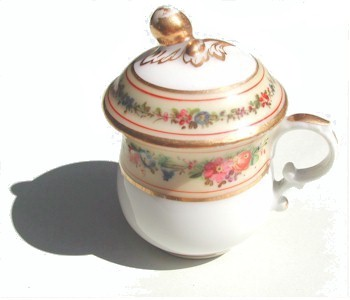 old paris floral peach and floral pot de creme cup
