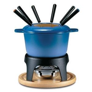 meat fondue set blue