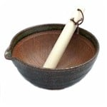suribachi with spout and pestle