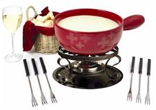 caquelon traditional swiss fondue set