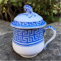 french faienc blue and white pot de creme cup