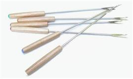 fondue forks - stainless with wood handles