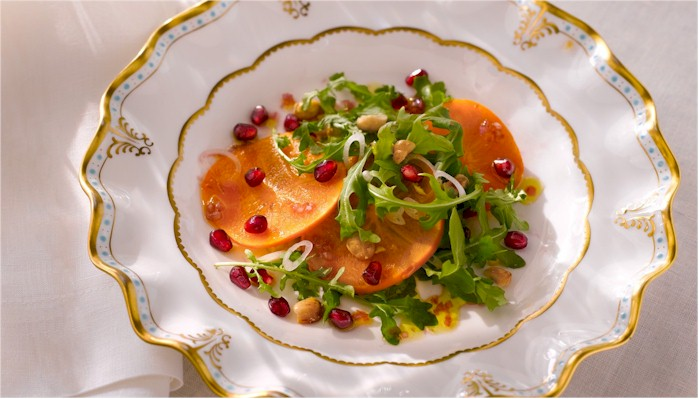 arugula pomegranate and fuyu salad