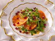 Arugula Salad with Pomegranate Persimmons and POM Vinaigrette