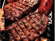 asian barbeque beef steaks on grill
