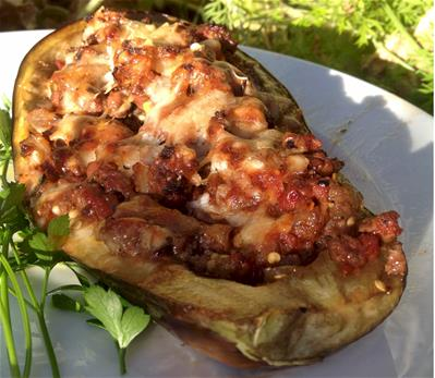 baked eggplant with tomato and cheese