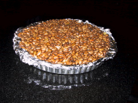pie pan with pie beans