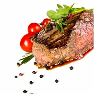 beef fillets with green and pink peppercorn sauce