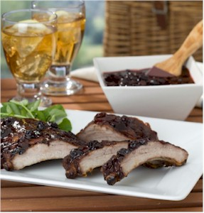 Fresh Blueberry and Ginger Glazed Pork Ribs