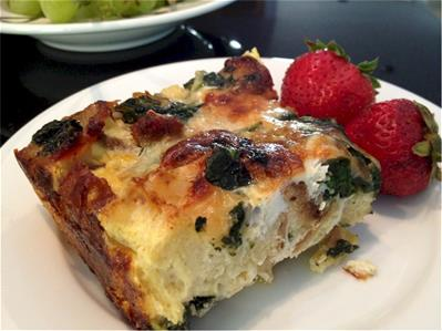 breakfast casserole with spicy sausage and greens