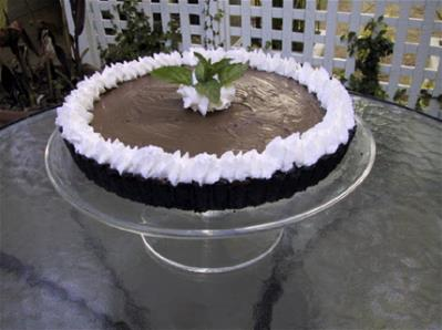 chocolate mousse pie on outdoor table