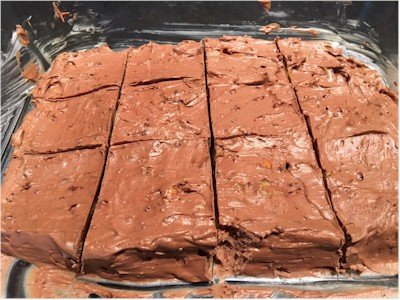 chocolate walnut low carb fudge scored in dish
