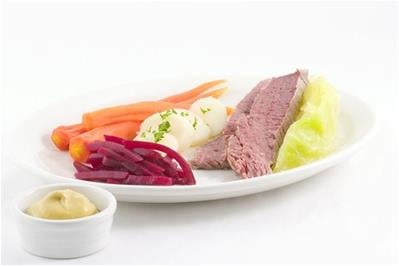 corned beef dinner with cabbage beets and carrots