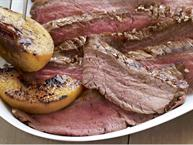 flank steak with grilled peaches