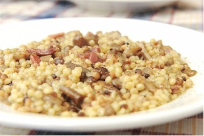 fregola with pancetta and pecorino cheese