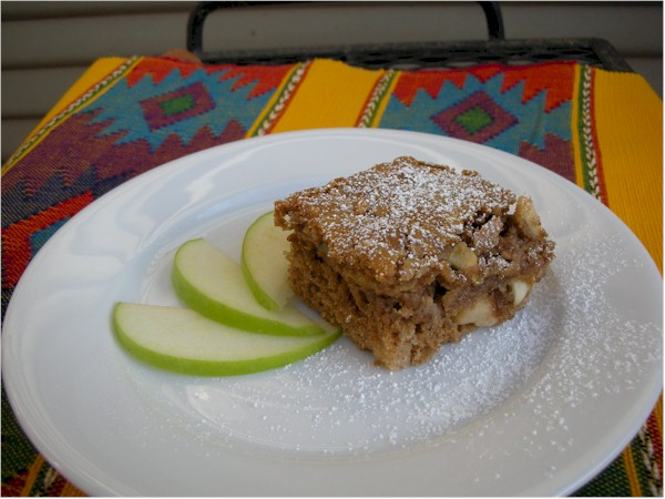 fresh apple cake served on plate