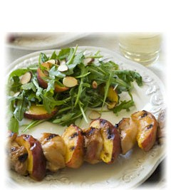 grilled chicken and peach skewers