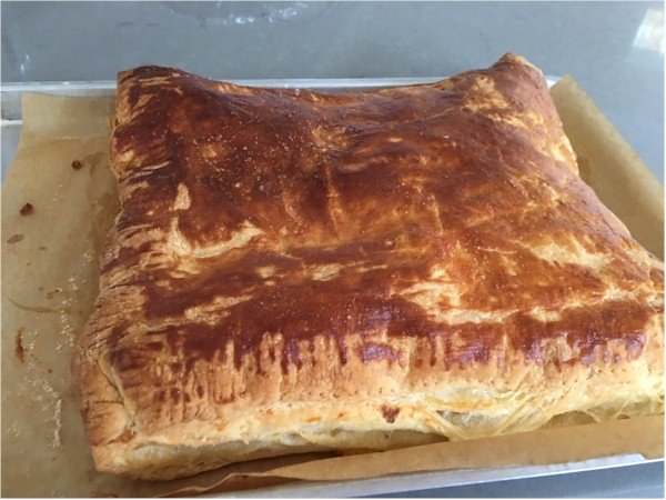 gruyere and ham puffs before cut