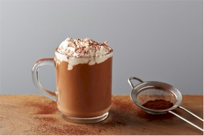 hot chocolate in mug with whipped cream
