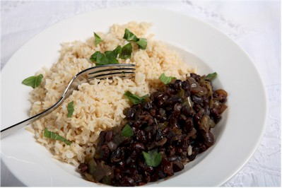 mexican beans rice with papalo