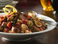 Orecchiette with Braised Kale, Fire-Roasted Tomatoes and Grilled Italian Sausage