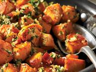 Pan Fried Sweet Potatoes with Gremolata