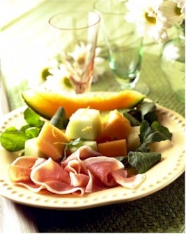 parma ham with melon on plate