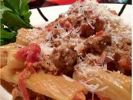 pasta with tomato vodka sauce and turkey sausage
