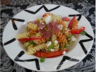 pasta salad with prosciutto and peppers