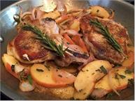 pork chops with apples and fresh herbs