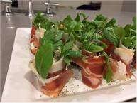 Prosciutto Rolls With Arugula Goat Cheese Figs and Lemon Drizzle