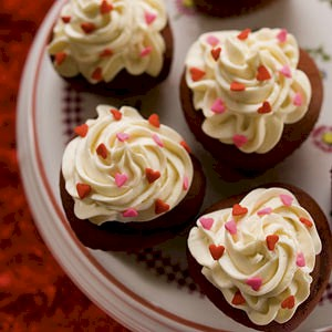 red velvet cupcakes with tiny hearts