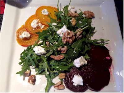 roasted beet and arugula salad with golden beets