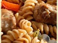 Rotini with Basil Sweet Peppers and Italian Sausage