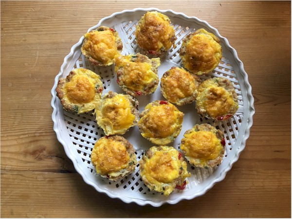 sausage egg muffins on platter