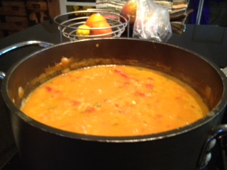 lentil soup in pot
