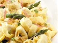Ricotta and Spinach Tortelloni with Asparagus Sauce and Prosciutto