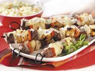 steak and bread kabobs
