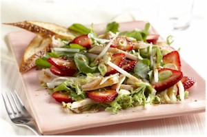 strawberry chicken salad on plate