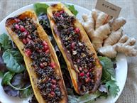 Stuffed Squash With Black Quinoa And Pomegranate Seeds