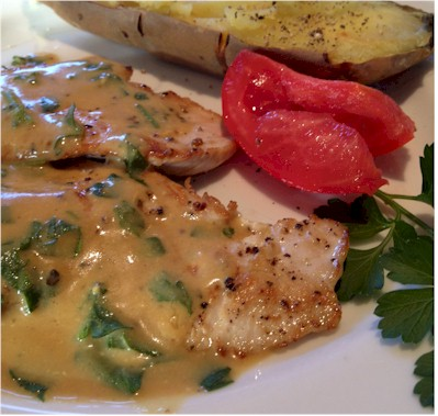 turkey with mustard sauce