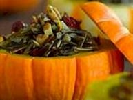 wild rice served in little pumpkins