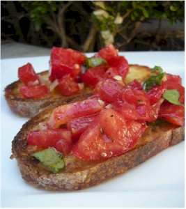 brushetta on plate fresh heirloom tomatoes