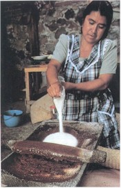 Woman Making chocolate using a Metate y Mano