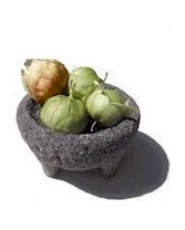 tomatillos in a molcajete